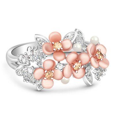 白い石と花のリング
