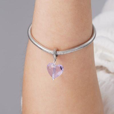 紫クリスタルハートペンダント