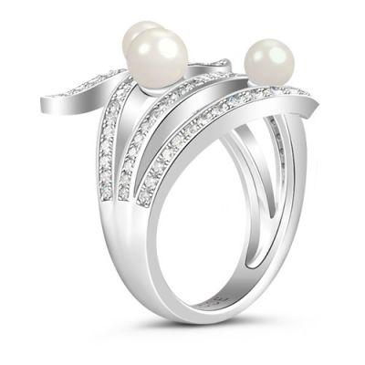 白い石の真珠リング