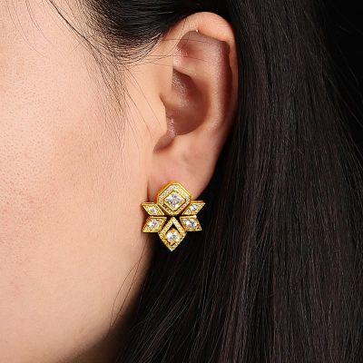 六角形ダイヤモンドスタッドピアス